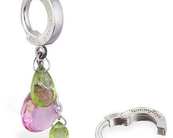 Pink Topaz and Two Peridot Gem Cluster Sterling Silver Belly Ring by TummyToys (69061)