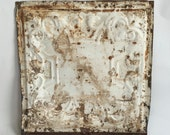 """AUTHENTIC 1890's Tin Ceiling Tile Panel White Rust 12""""x 12"""" Arts and Crafts  RECLAIMED 82-16"""