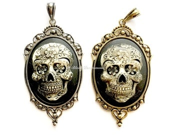 Mr. Sugar Skull Gothic Necklace - Calavera  Day of the Dead Mexican Cameo 40x30mm - 2 Color Options - Insurance Included