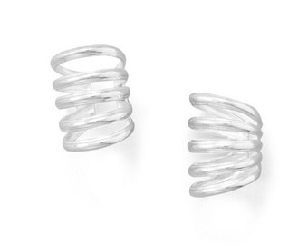 Polished 5 Row Ear Cuffs - Polished 925 Solid Sterling Silver Adjustable - Insurance Included