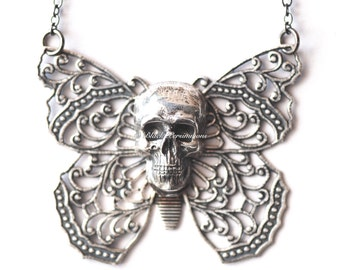 Yriyega Filigree Butterfly Skull Necklace No. 5 - Soldered Antique Sterling Silver Plated American Brass - Insurance Included