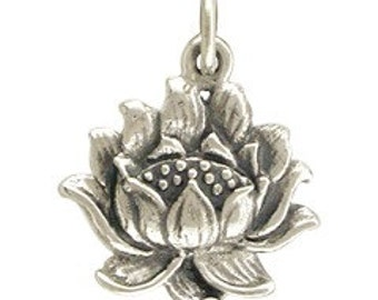 NEW - Textured Lotus Blossom Necklace - Solid 925 Sterling Silver Renge Charm - Free Domestic Shipping