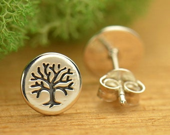 NEW - Sterling Silver Etched Tree of Life Post Earrings - Solid 925 - Insurance Included