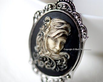 Fancy Ornate Filigree Scroll Girl Gothic Necklace - 40x30mm Cameo - 2 Setting Colors - Insurance Included