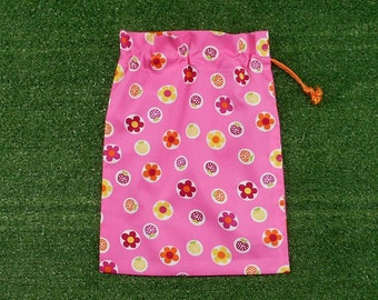 Small drawstring toy bag, gift bag, trinket bag, bright candy pink with flowers & strawberries