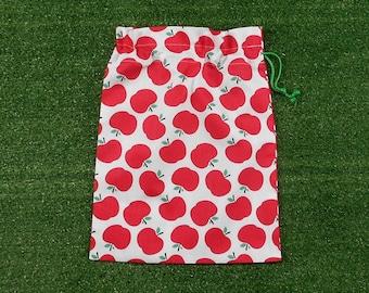Small drawstring bag, apples small cotton bag, drawstring snack bag, food storage bag