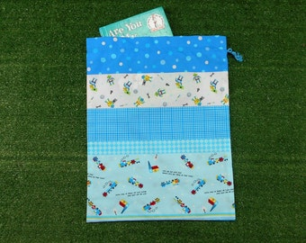 Blue drawstring toy bag or book bag, little robots and trains cotton bag for boys