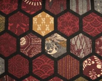 Japanese cotton print - 1/2 yard of burgundy Hexagons
