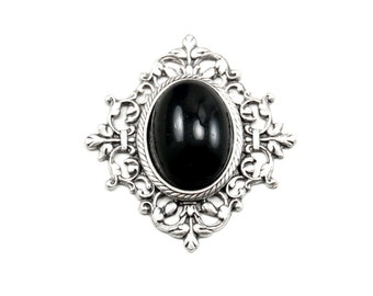 Gothic Bohemian Black Cabochon Pendant with Triangular Antiqued Silver Floral Filigree Setting