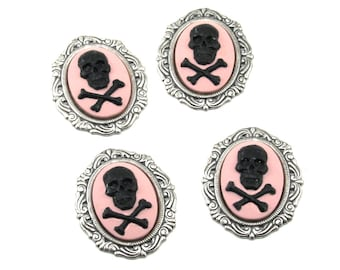 Skull and Crossbones Cameos - 18x25mm - Set of 4 in Black on Pink - Hand Painted with Antiqued Sterling Silver Plated Settings