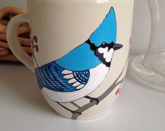 Winter bluejay hand painted mug