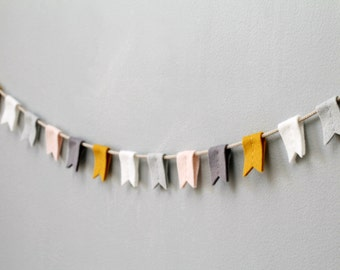 Felt Flag Bunting. Stylish Flag Garland. Blush Mustard Gray Nursery. Modern Accent Felt Flag Banner. Reusable Party Bunting.