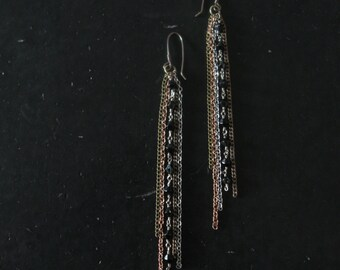 Chain Fringe Earrings - Recycled Vintage Black Rosary Beads - The Sorrows