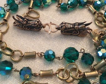 Vintage Green Crystals with Brass Links and Bronze Dragon Clasp Long Necklace