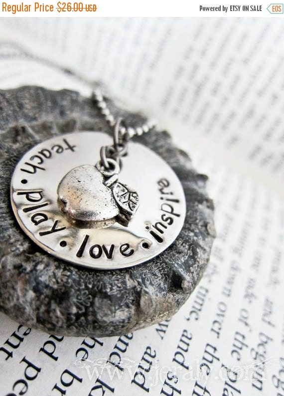 15% OFF SALE Hand Stamped Teacher Gift Necklace with Silver Apple Charm - Teach Play Love Inspire