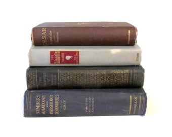 Vintage four book collection - History and science - Bookcase collection - Large clothbound books