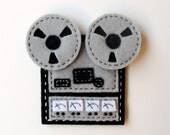 Reel To Reel Tape Recorder in Black and Grey Felt A Hand Sewn Fridge Magnet