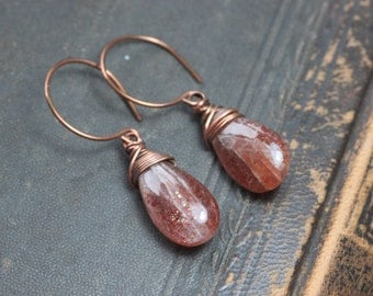 Sunstone Earrings Copper Wire Wrapped Briolette Orange Earrings Rustic Jewelry Hoop Gemstone Earrings