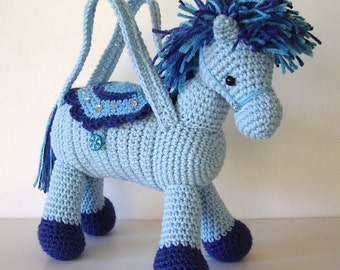 Crochet Pony Horse Purse Light Blue with Multicolor Blue Mane Tail for Girls