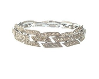 ORA Vintage Bracelet, Rhinestone Link, 1940s Vintage Wedding Jewelry, Designer Jewelry