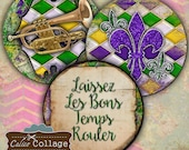 Pocket Mirror Collage Sheet - Mardi Gras Collage Sheet - 2.5 inch circles Printable download images for pocket mirrors, paperweight
