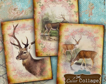 Hello Deer Digital Collage Sheet 2.5x3.5 ATC Size, Gift Tags, Greeting Cards, Jewelry Holders, Scrapbook, Victorian Roses, Decoupage Paper