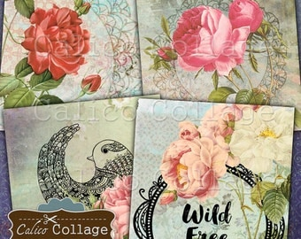 Boho Printable Coaster Digital Collage Sheet, 4x4 Inch Images, 2x2 Squares, Coaster Images, Instant Download, Printable Images, Bohemian