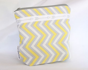 Small,wetbag yellows and grey with arrows,cotton print,pul, Cosmetic & Toiletry Storage,travel bag,accessories bag
