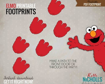 Elmo Footprints, Printable Children's Birthday Party Decorations, Instant Download #B103-B