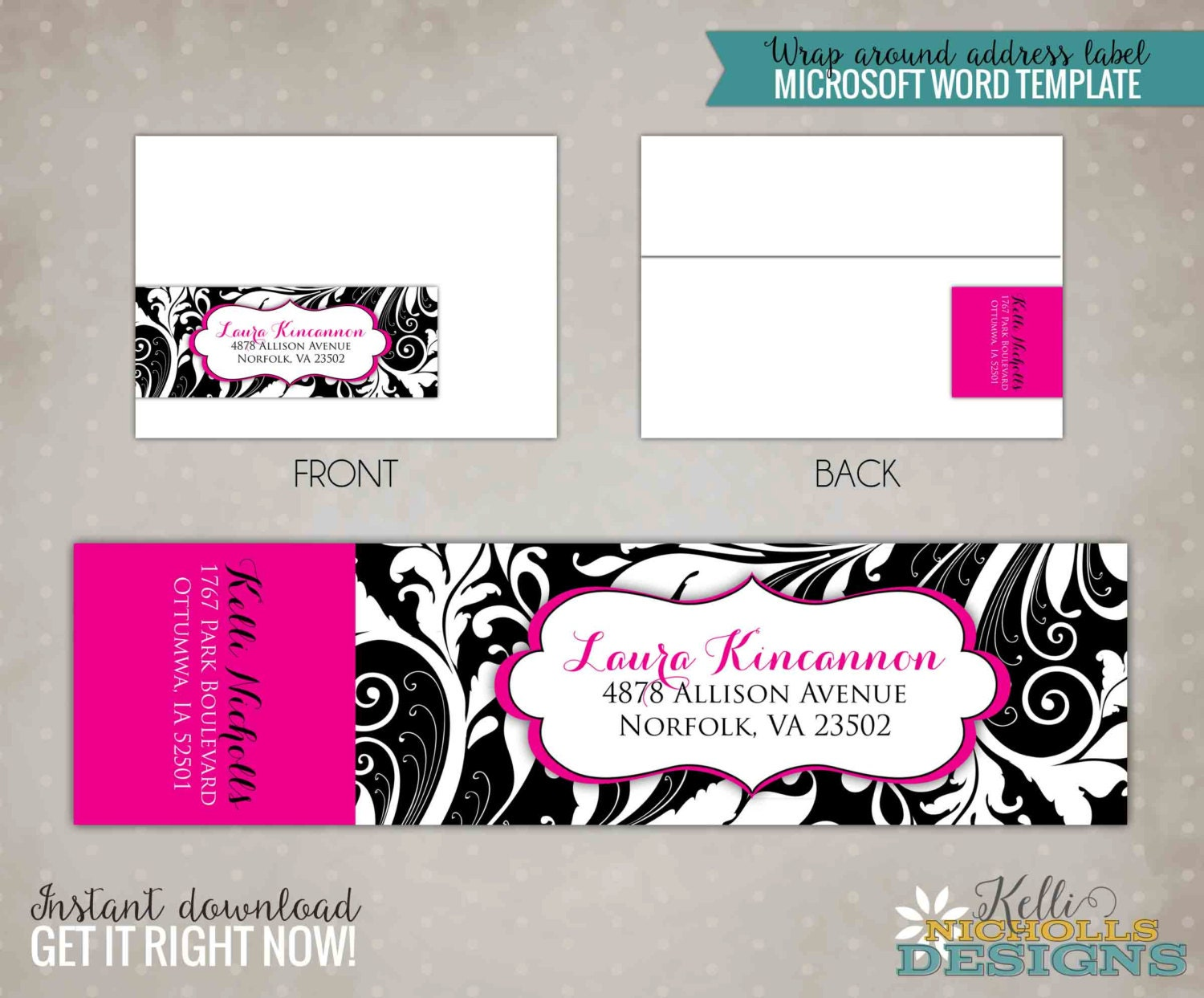 fancy wrap around personalized address label template adult. Black Bedroom Furniture Sets. Home Design Ideas