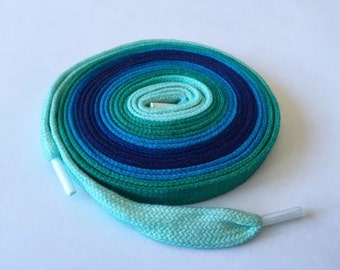 Hand Dyed High Top Shoelaces (63 inch) Sea For Miles