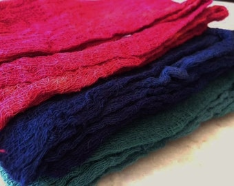 Hand Dyed Cheesecloth Set of 3 Hunt Club
