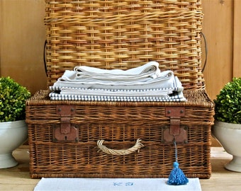 Vintage Lovely.....Old French Wicker Trunk With Metal Latches