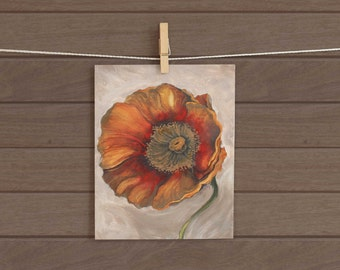 1 Original gold and red poppy painting by Mary Beth Medley, 9 x 12