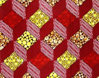 African Fabric 1/2 Yard Cotton YELLOW RED BEIGE Geometric Blocks