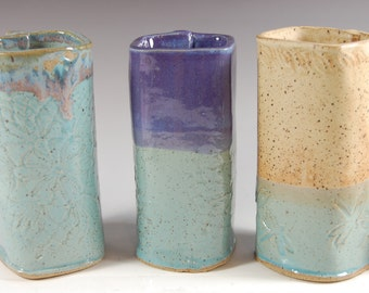 Pottery Vases - Square, Textured, Turquoise, Dragonfly,Hand Made