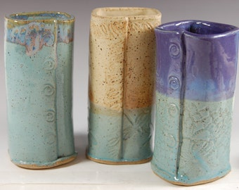 Pottery Vases - Set of 3 Square, Textured, Turquoise, Dragonfly,Hand Made