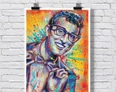 "18x24""  Art Print Poster - Buddy Holly - Rave On - 1950s 1960s music retro vintage"