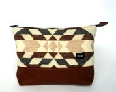 Geometric recycle wool clutch , pencil case , cosmetic pouch