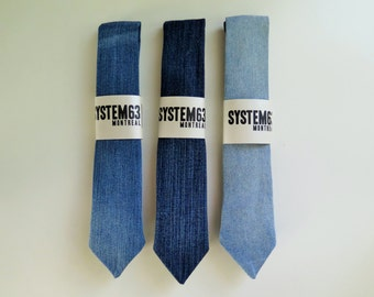 Distress denim skinny ties