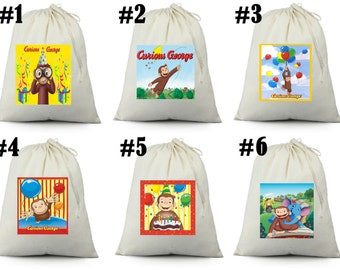 12 CURIOUS GEORGE  Birthday Party Favor Candy Loot Treat Drawstring Bags