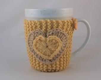 Cornmeal Hand Knit Coffee Mug Cozy Coaster Double Heart