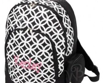 Monogrammed Backpack. Black and white Sadie print