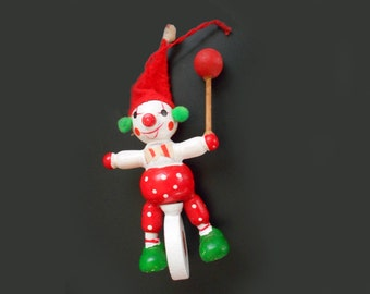 Vintage Unicycle Painted Wooden Ornament Clown Riding Unicycle Red and White Polk Dots Circus Performer Gift Christmas Ornament
