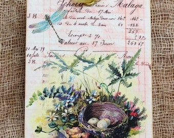 French Bird Nest Dragonfly Gift Tags orScrapbook Tags #181
