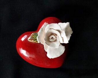 OOAK Red Ceramic Heart Keepsake with White Rose