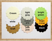 """Scallop Circle Die Cuts - Tags Size 2.25"""" Pick Color. With or Without Holes"""