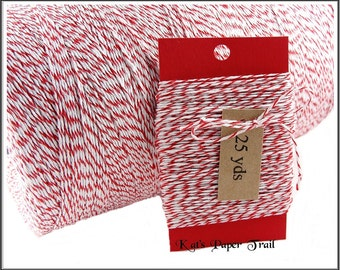 Bakers Twine, Red and White, 25 or 50 Yards