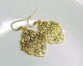 Gold Floral Filigree Earrings 14/20 Gold-Filled Earwires Dangle Drop Gorgeous Chic