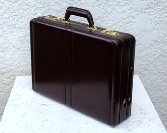 "Vintage Hardshell ""Franzen"" Briefcase, Dark Burgundy Vintage Top Grain Leather Briefcase, Combo Locks, Gold-Toned Hardware, Tan Suede Lining"